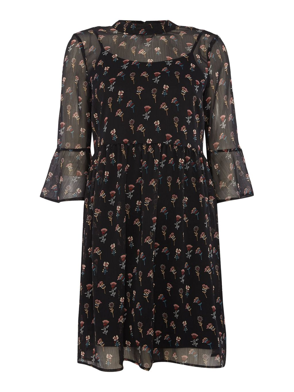 3/4 Sleeve High Neck Dress, Black - sleeve style: volant; secondary colour: nude; predominant colour: black; occasions: casual, creative work; length: just above the knee; fit: fitted at waist & bust; style: fit & flare; neckline: collarstand; fibres: polyester/polyamide - 100%; sleeve length: long sleeve; texture group: sheer fabrics/chiffon/organza etc.; pattern type: fabric; pattern: patterned/print; season: a/w 2016; wardrobe: highlight