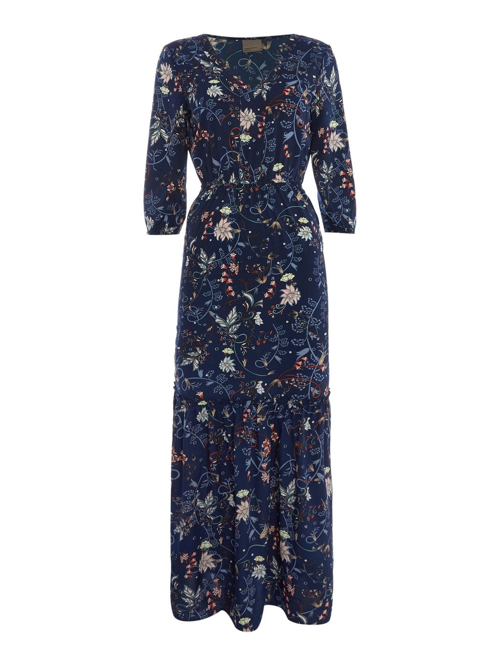 3/4 Sleeve Maxi, Navy - neckline: v-neck; style: maxi dress; length: ankle length; secondary colour: ivory/cream; predominant colour: navy; occasions: casual, holiday; fit: body skimming; fibres: polyester/polyamide - 100%; sleeve length: 3/4 length; sleeve style: standard; pattern type: fabric; pattern size: standard; pattern: florals; texture group: woven light midweight; season: a/w 2016; wardrobe: highlight