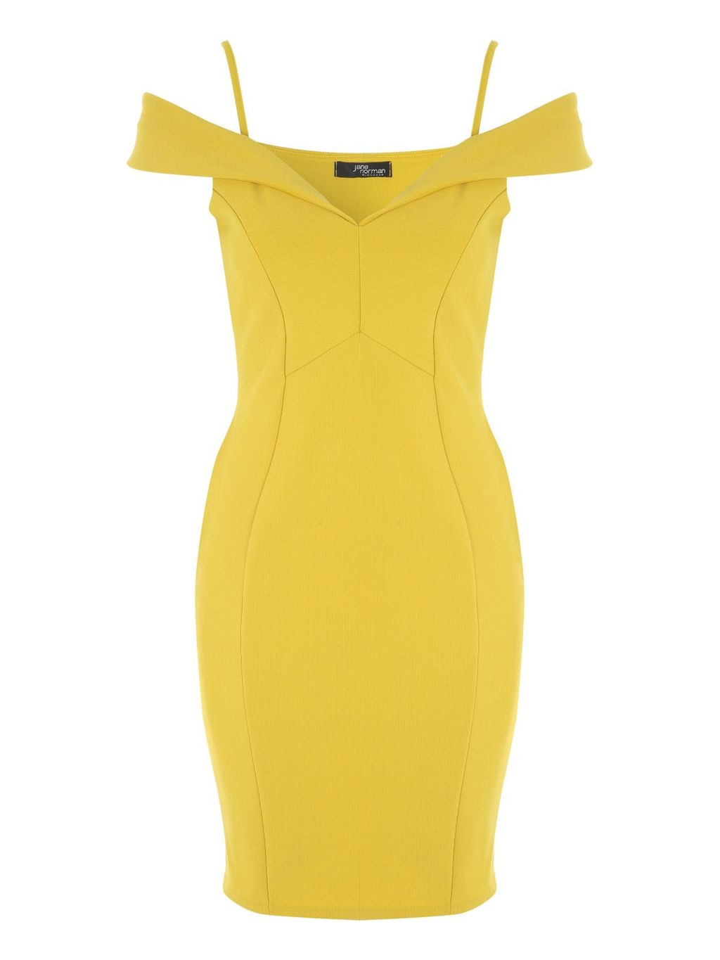 Bardot Midi Dress, Yellow - neckline: off the shoulder; sleeve style: capped; fit: tight; pattern: plain; style: bodycon; predominant colour: yellow; occasions: evening; length: just above the knee; fibres: polyester/polyamide - stretch; sleeve length: short sleeve; texture group: jersey - clingy; pattern type: fabric; season: a/w 2016; wardrobe: event