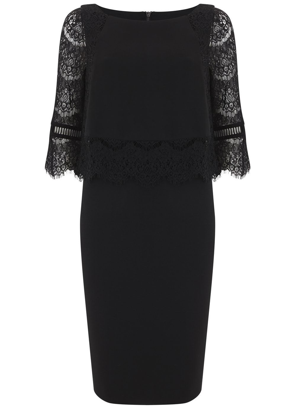 Black Lace Layered Dress, Black - style: shift; neckline: slash/boat neckline; fit: tailored/fitted; pattern: plain; predominant colour: black; occasions: evening, occasion; length: on the knee; fibres: polyester/polyamide - 100%; sleeve length: 3/4 length; sleeve style: standard; texture group: crepes; pattern type: fabric; embellishment: lace; shoulder detail: sheer at shoulder; season: a/w 2016; wardrobe: event