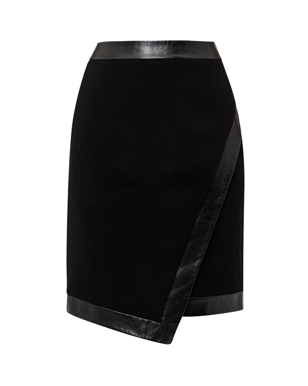 Poppee Asymmetric Skirt, Black - pattern: plain; fit: tailored/fitted; waist: high rise; predominant colour: black; occasions: evening, creative work; length: just above the knee; style: asymmetric (hem); fibres: polyester/polyamide - 100%; texture group: crepes; pattern type: fabric; wardrobe: basic; season: a/w 2016