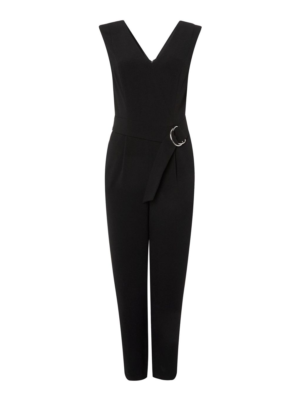 Sofia Jumpsuit, Black - length: standard; neckline: v-neck; pattern: plain; sleeve style: sleeveless; waist detail: belted waist/tie at waist/drawstring; predominant colour: black; occasions: evening; fit: body skimming; fibres: polyester/polyamide - stretch; sleeve length: sleeveless; style: jumpsuit; pattern type: fabric; texture group: jersey - stretchy/drapey; season: a/w 2016