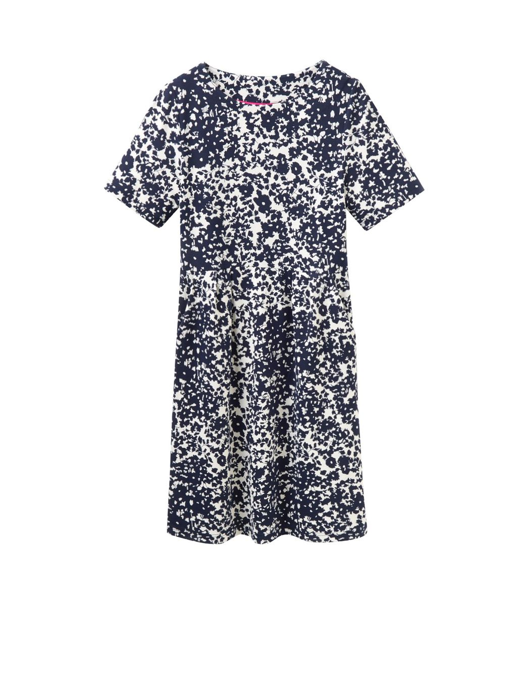 Jersey Printed Dress, Navy - style: shift; predominant colour: white; secondary colour: navy; occasions: casual; length: just above the knee; fit: body skimming; fibres: viscose/rayon - stretch; neckline: crew; sleeve length: short sleeve; sleeve style: standard; pattern type: fabric; pattern: patterned/print; texture group: jersey - stretchy/drapey; multicoloured: multicoloured; season: a/w 2016; wardrobe: highlight