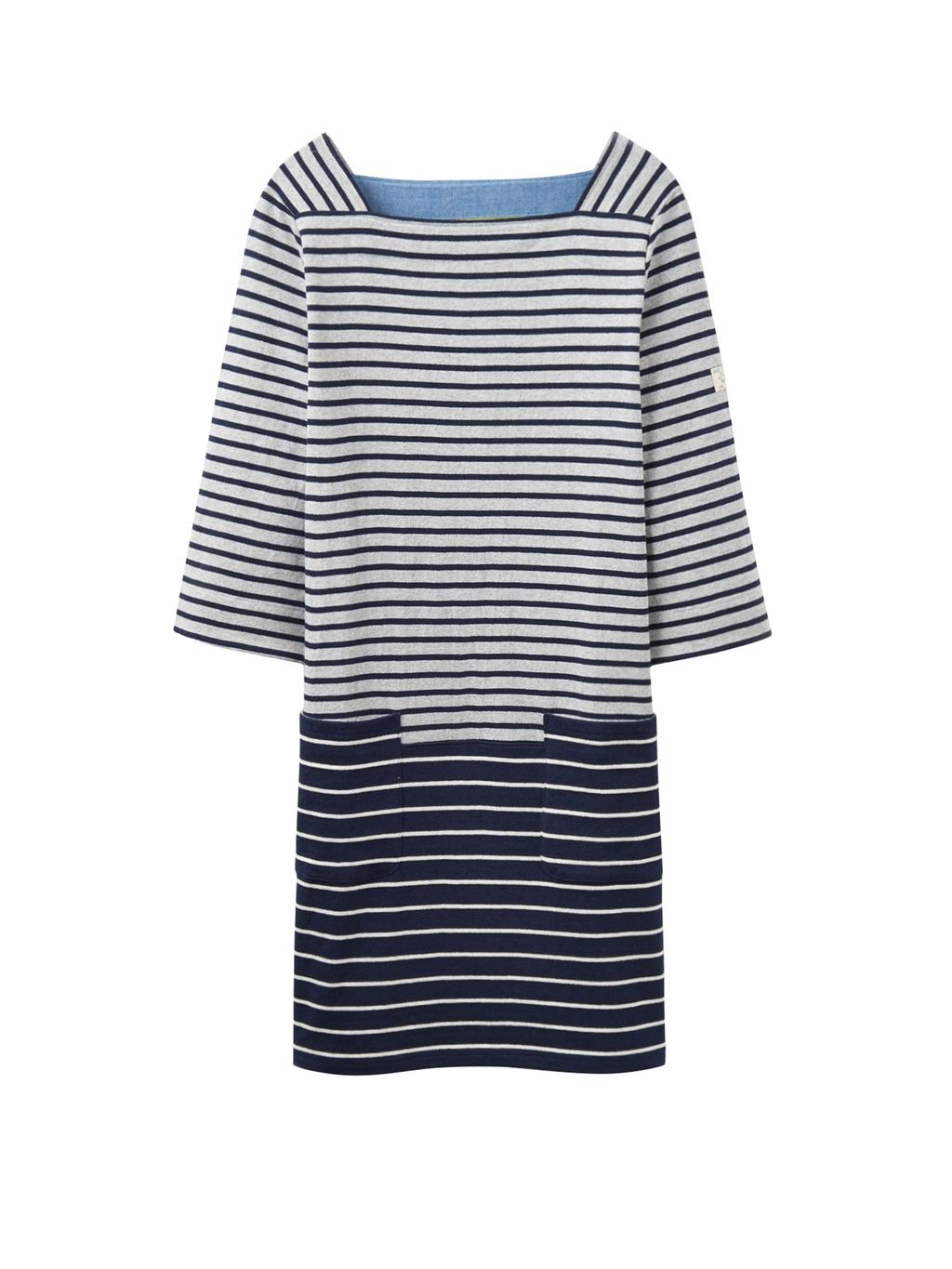 3/4 Sleeve Casual Dress, Grey - style: shift; pattern: horizontal stripes; predominant colour: navy; secondary colour: light grey; occasions: casual; length: just above the knee; fit: body skimming; fibres: cotton - 100%; sleeve length: 3/4 length; sleeve style: standard; neckline: medium square neck; pattern type: fabric; texture group: other - light to midweight; multicoloured: multicoloured; wardrobe: basic; season: a/w 2016