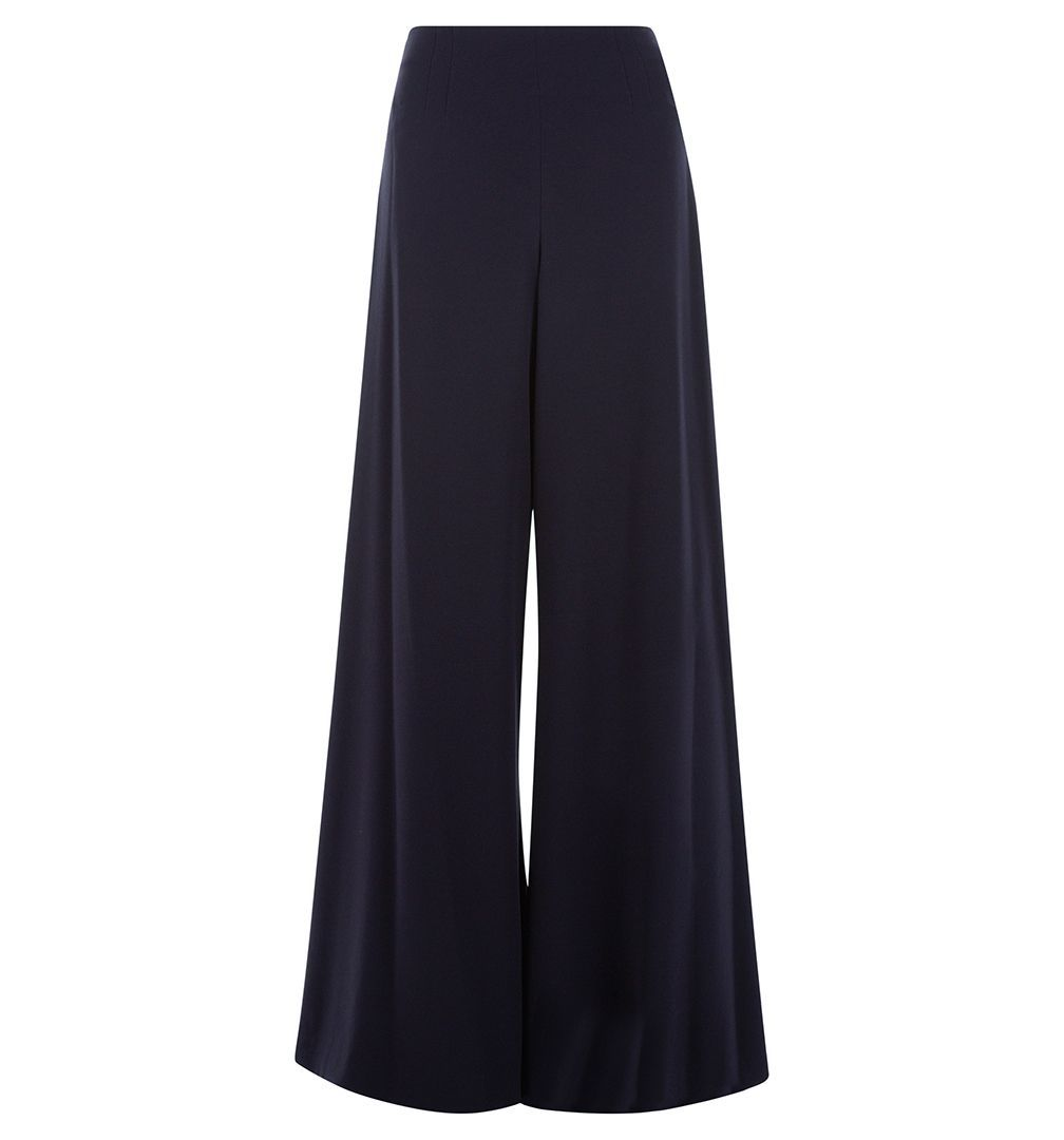 Cara Palazzo Pant, Navy - length: standard; pattern: plain; waist: mid/regular rise; predominant colour: navy; occasions: work; fibres: polyester/polyamide - mix; fit: wide leg; pattern type: fabric; texture group: woven light midweight; style: standard; wardrobe: basic; season: a/w 2016