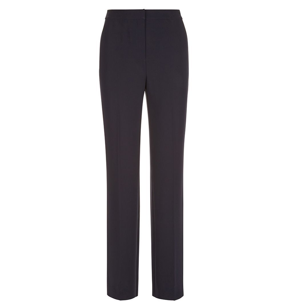 Lynsey Trouser, Blue - length: standard; pattern: plain; waist: high rise; predominant colour: navy; occasions: work; fibres: polyester/polyamide - 100%; fit: slim leg; pattern type: fabric; texture group: woven light midweight; style: standard; wardrobe: basic; season: a/w 2016