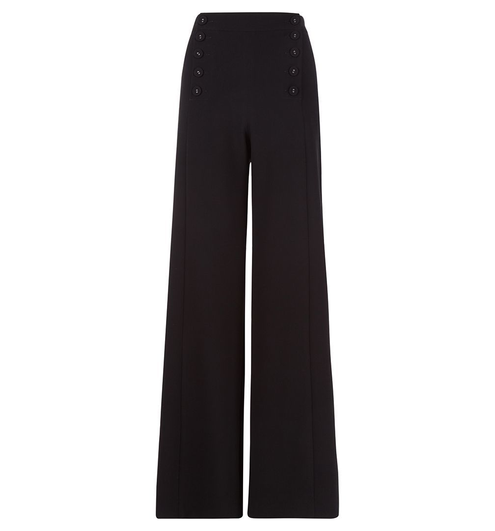 Delora Trouser, Black - length: standard; pattern: plain; waist: mid/regular rise; predominant colour: black; occasions: work; fibres: polyester/polyamide - 100%; fit: wide leg; pattern type: fabric; texture group: woven light midweight; style: standard; season: a/w 2016