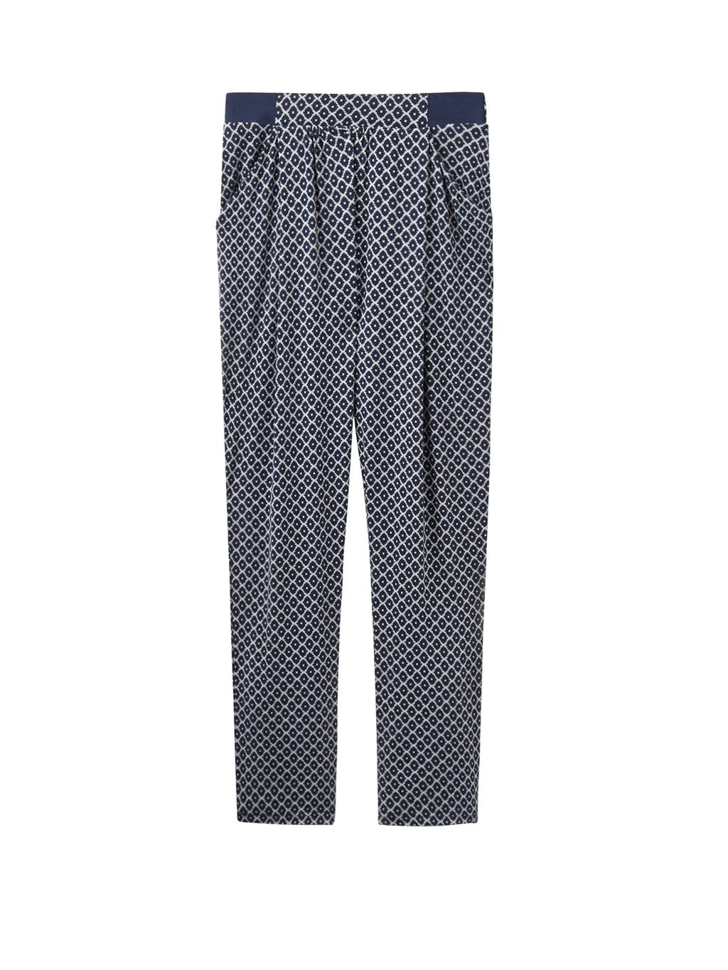 Jersey Jogger Trousers, Grey - waist: mid/regular rise; secondary colour: white; predominant colour: navy; occasions: casual; length: ankle length; fibres: viscose/rayon - stretch; texture group: crepes; fit: tapered; pattern type: fabric; pattern: patterned/print; style: standard; pattern size: light/subtle (bottom); season: a/w 2016; wardrobe: highlight