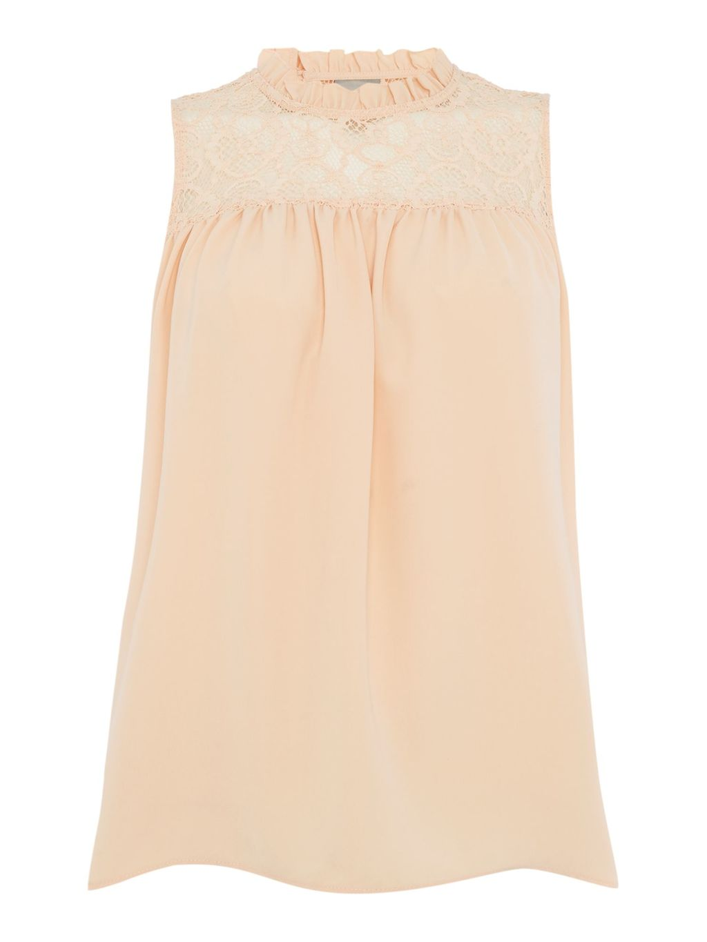 Sleeveless Top, Pink - pattern: plain; sleeve style: sleeveless; length: below the bottom; bust detail: ruching/gathering/draping/layers/pintuck pleats at bust; predominant colour: nude; occasions: casual, creative work; style: top; fibres: polyester/polyamide - mix; fit: body skimming; neckline: crew; sleeve length: sleeveless; texture group: sheer fabrics/chiffon/organza etc.; pattern type: fabric; season: a/w 2016
