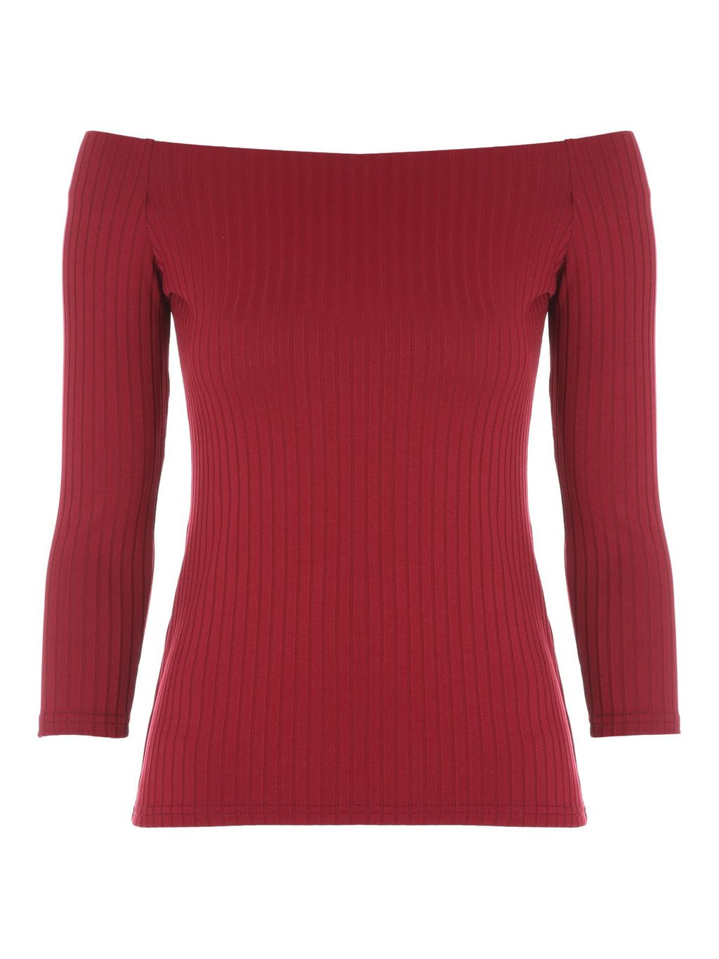 Ribbed Bardot Top, Berry - neckline: off the shoulder; pattern: plain; occasions: casual, creative work; length: standard; style: top; fibres: polyester/polyamide - stretch; fit: body skimming; sleeve length: 3/4 length; sleeve style: standard; texture group: jersey - clingy; pattern type: fabric; predominant colour: raspberry; season: a/w 2016