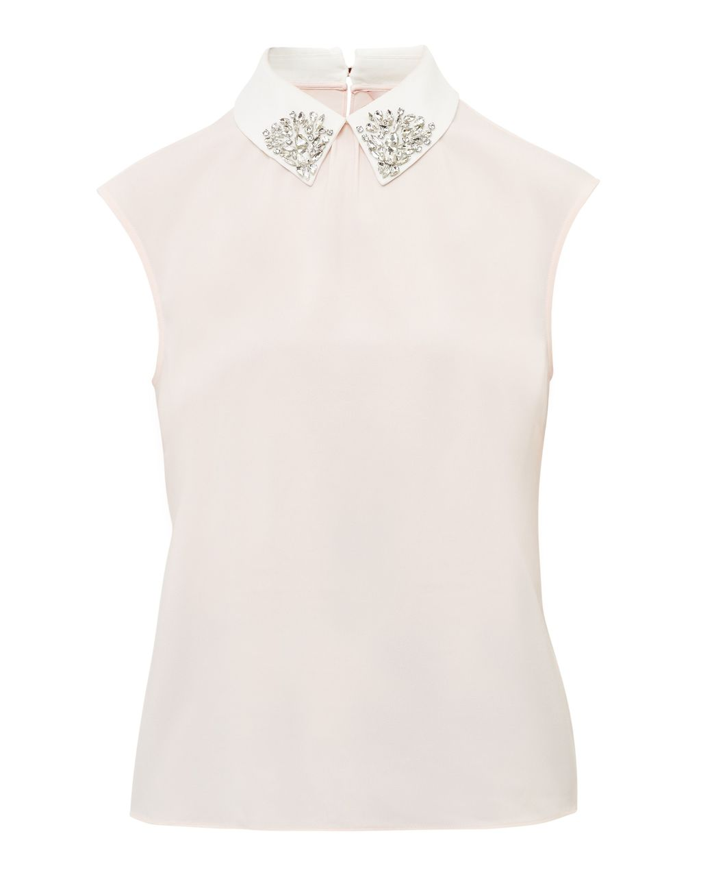 Edah Embellished Collar Top, Blush - pattern: plain; sleeve style: sleeveless; predominant colour: blush; occasions: evening; length: standard; style: top; fibres: polyester/polyamide - stretch; fit: body skimming; neckline: no opening/shirt collar/peter pan; sleeve length: sleeveless; pattern type: fabric; texture group: other - light to midweight; embellishment: sequins; season: a/w 2016; wardrobe: event