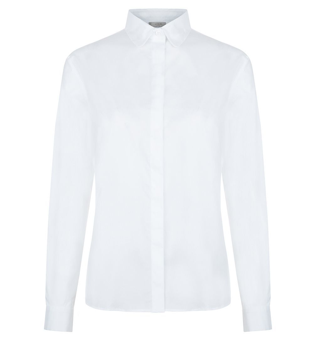 Lucinda Shirt, White - neckline: shirt collar/peter pan/zip with opening; pattern: plain; style: shirt; predominant colour: white; occasions: casual, work, creative work; length: standard; fibres: cotton - stretch; fit: body skimming; sleeve length: long sleeve; sleeve style: standard; texture group: cotton feel fabrics; pattern type: fabric; wardrobe: basic; season: a/w 2016