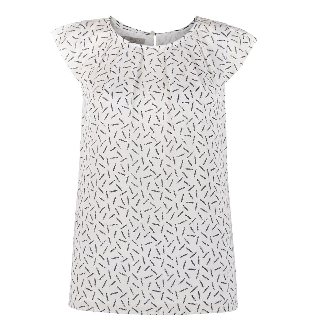 Aria Top, White - neckline: round neck; sleeve style: capped; predominant colour: white; occasions: casual, creative work; length: standard; style: top; fibres: cotton - 100%; fit: straight cut; sleeve length: short sleeve; pattern type: fabric; pattern: patterned/print; texture group: jersey - stretchy/drapey; pattern size: big & busy (top); season: a/w 2016; wardrobe: highlight