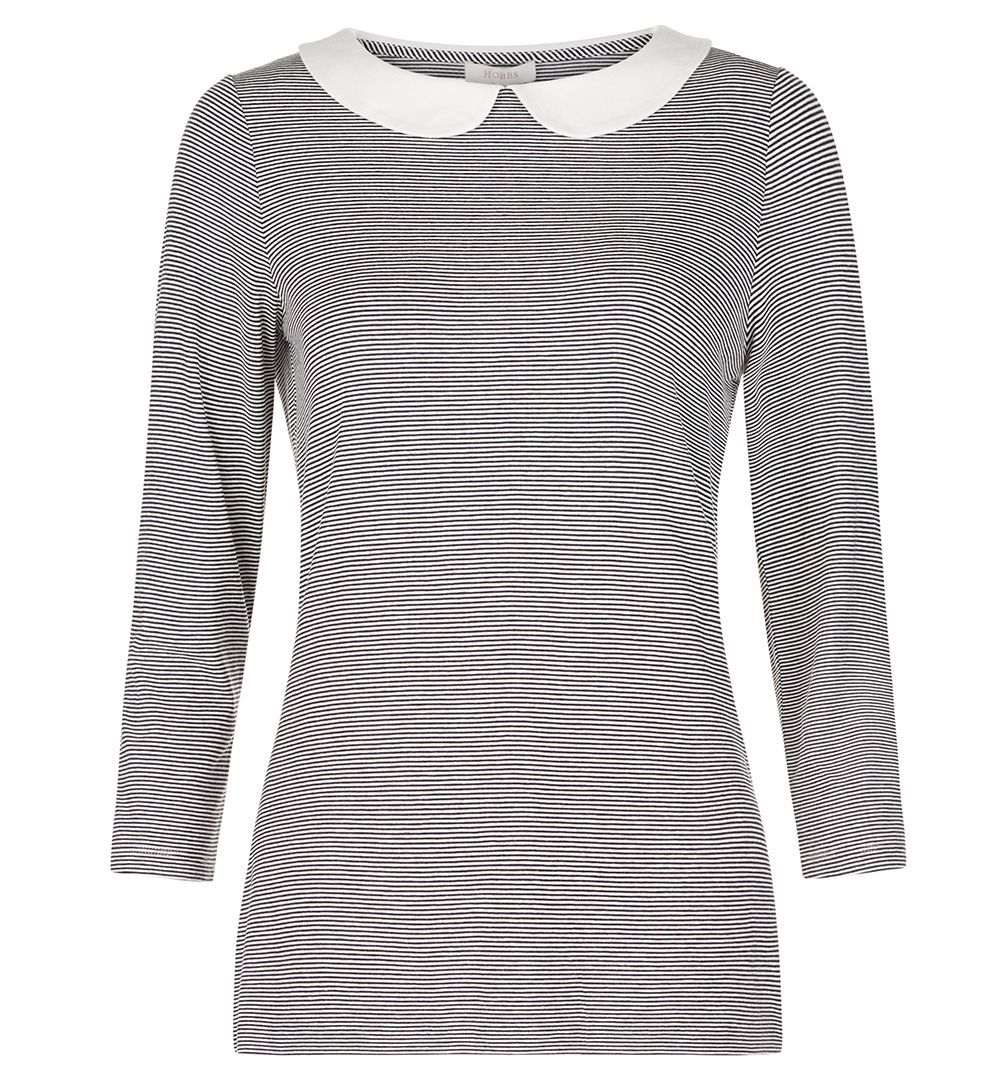 Emerson Top, Blue - pattern: plain; secondary colour: white; predominant colour: mid grey; occasions: casual; length: standard; style: top; fibres: viscose/rayon - stretch; fit: body skimming; neckline: no opening/shirt collar/peter pan; sleeve length: 3/4 length; sleeve style: standard; pattern type: fabric; texture group: jersey - stretchy/drapey; multicoloured: multicoloured; season: a/w 2016
