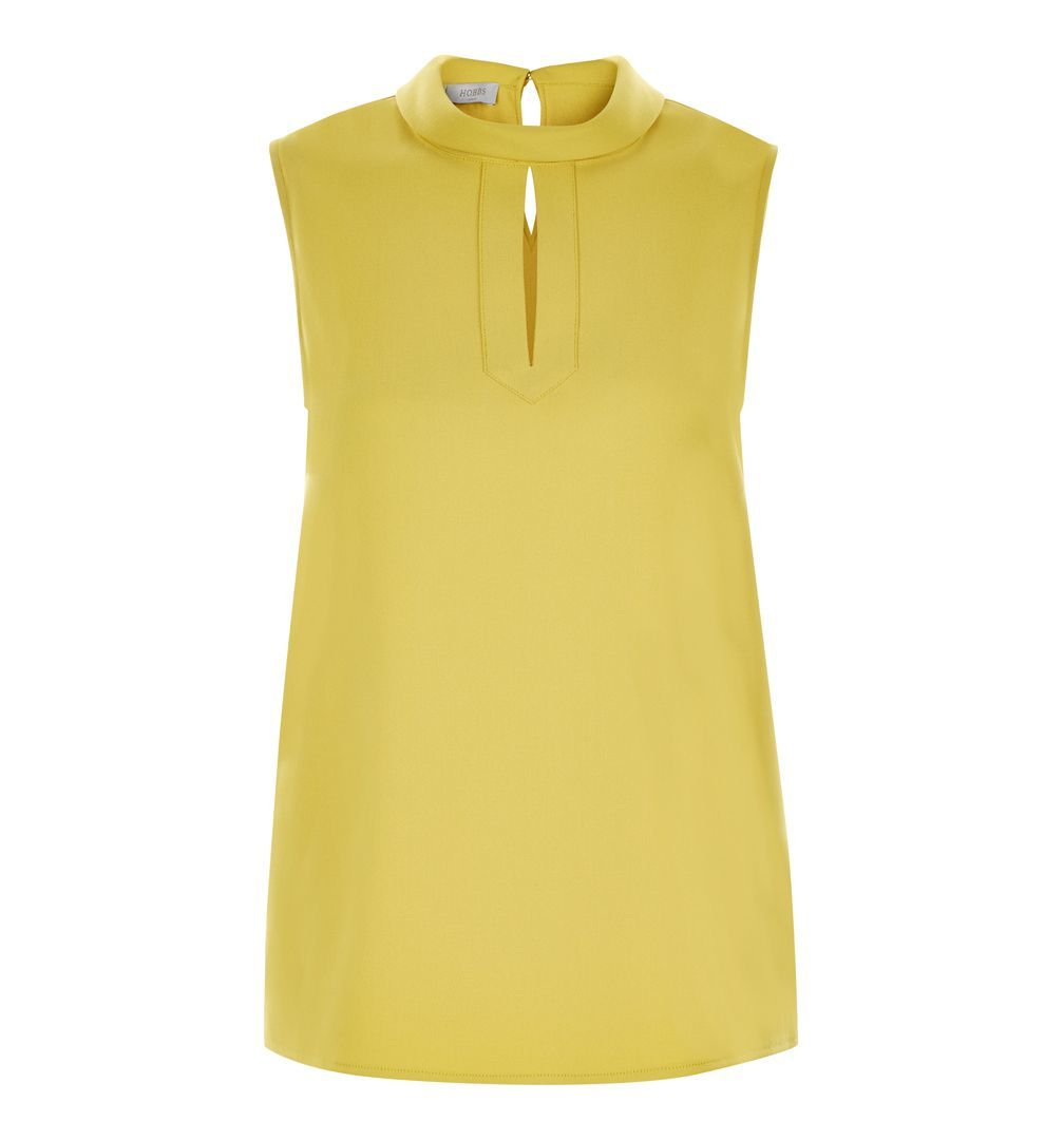 Remi Top, Yellow - pattern: plain; sleeve style: sleeveless; style: blouse; predominant colour: primrose yellow; occasions: casual, creative work; length: standard; neckline: peep hole neckline; fibres: polyester/polyamide - 100%; fit: straight cut; sleeve length: sleeveless; texture group: crepes; pattern type: fabric; season: a/w 2016; wardrobe: highlight