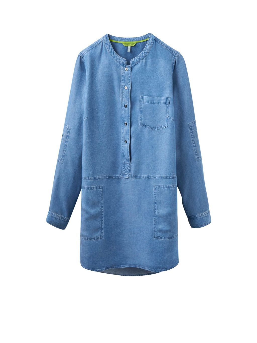 Woven Tunic Shirt, Blue - pattern: plain; style: shirt; predominant colour: denim; occasions: casual; neckline: collarstand; fibres: cotton - 100%; fit: loose; length: mid thigh; sleeve length: long sleeve; sleeve style: standard; texture group: denim; pattern type: fabric; wardrobe: basic; season: a/w 2016
