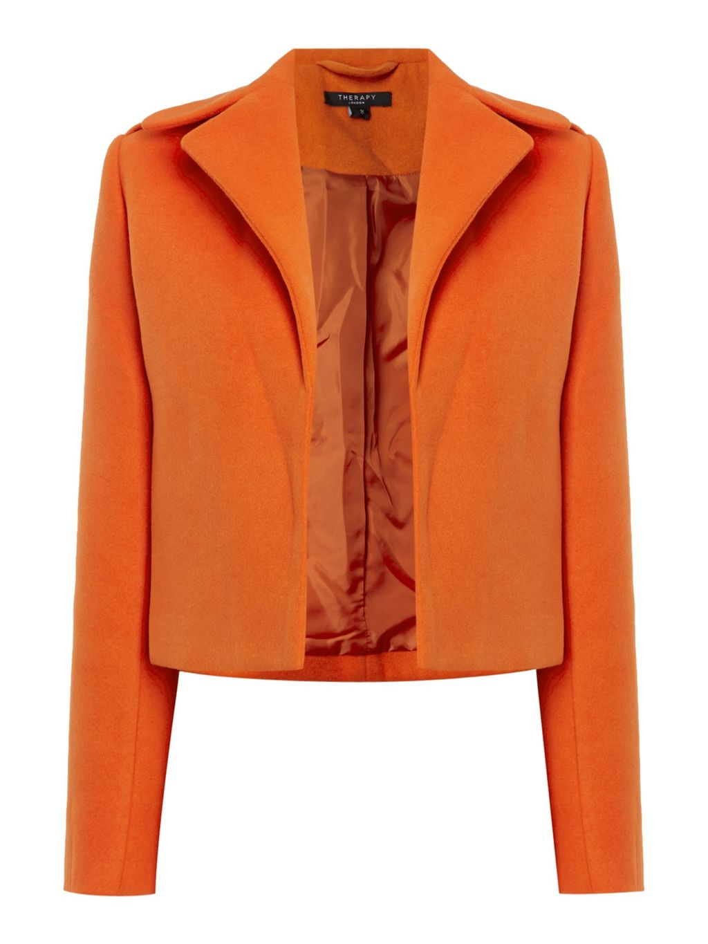 Jayden Crop Jacket, Orange - pattern: plain; style: single breasted blazer; collar: standard lapel/rever collar; predominant colour: bright orange; occasions: casual, creative work; fit: straight cut (boxy); fibres: wool - mix; sleeve length: long sleeve; sleeve style: standard; collar break: low/open; pattern type: fabric; texture group: woven light midweight; length: cropped; season: a/w 2016; wardrobe: highlight