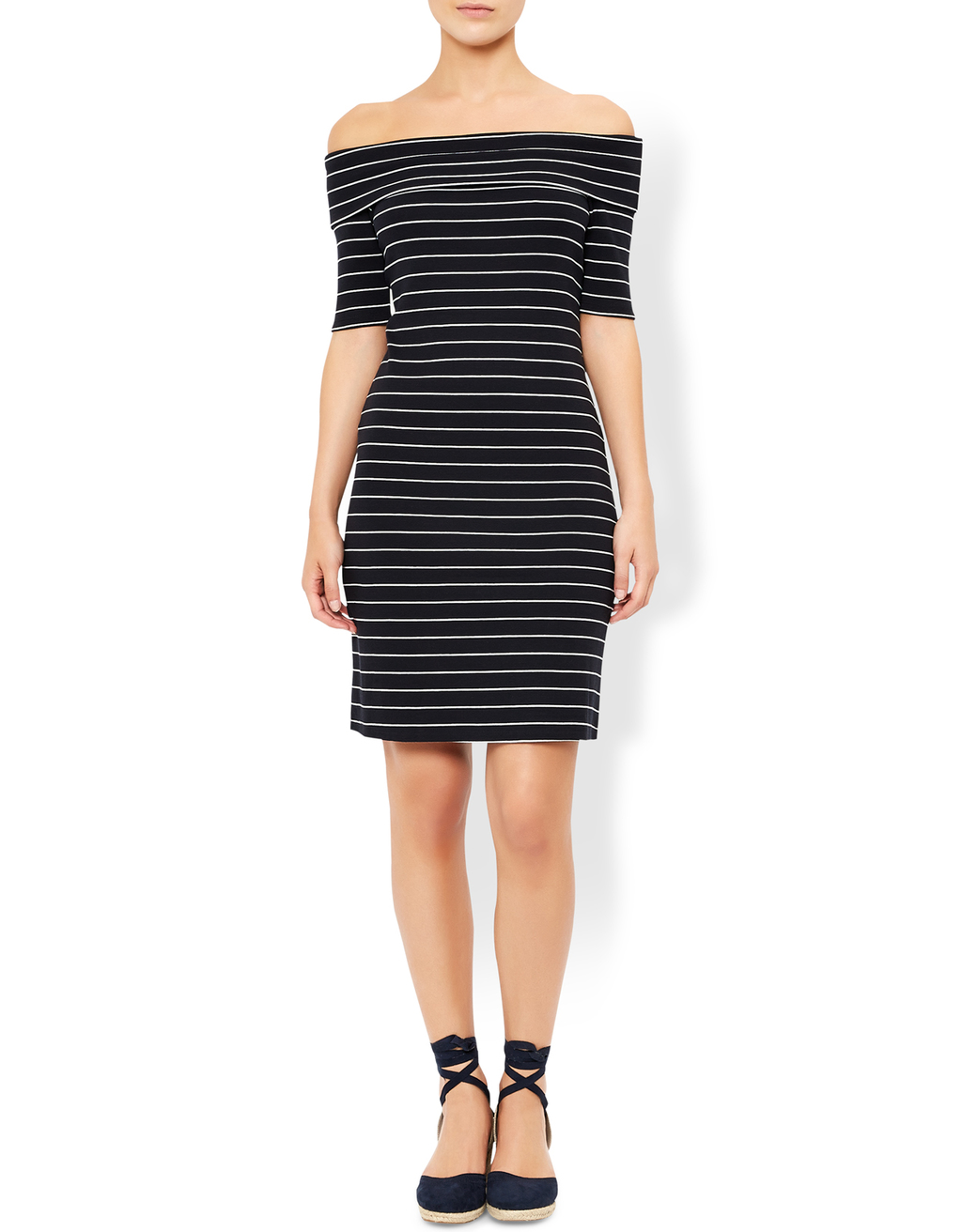 Bianca Stripe Bardot Dress - style: shift; neckline: off the shoulder; pattern: horizontal stripes; hip detail: draws attention to hips; secondary colour: white; predominant colour: black; occasions: casual; length: just above the knee; fit: body skimming; fibres: polyester/polyamide - stretch; sleeve length: half sleeve; sleeve style: standard; trends: monochrome; texture group: jersey - clingy; pattern type: fabric; pattern size: standard; season: a/w 2016; wardrobe: highlight