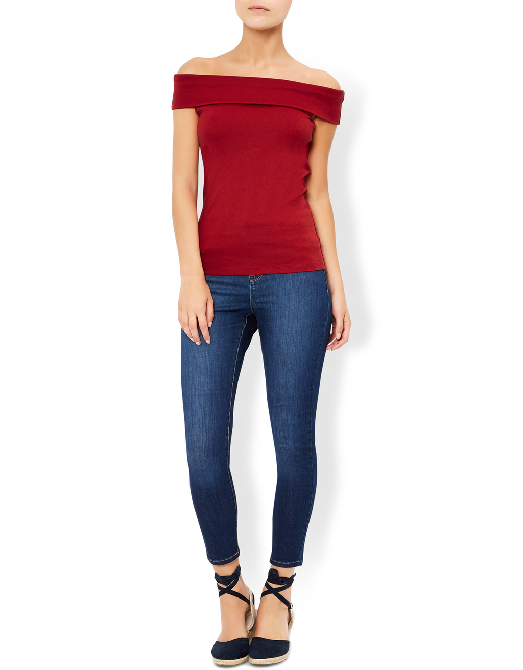 Dita Bardot Top - neckline: off the shoulder; sleeve style: capped; pattern: plain; predominant colour: burgundy; occasions: casual; length: standard; style: top; fibres: cotton - 100%; fit: body skimming; sleeve length: short sleeve; texture group: jersey - clingy; pattern type: fabric; season: a/w 2016; wardrobe: highlight