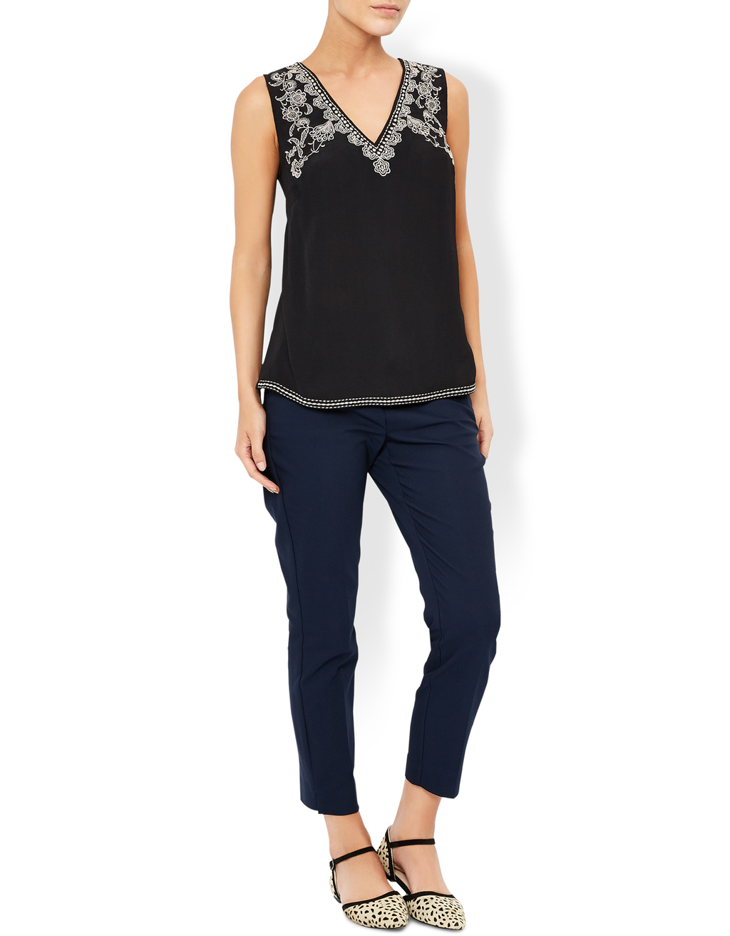 Brittany Embroidered Tank Top - neckline: v-neck; pattern: plain; sleeve style: sleeveless; predominant colour: black; occasions: evening; length: standard; style: top; fibres: viscose/rayon - 100%; fit: body skimming; sleeve length: sleeveless; pattern type: fabric; texture group: other - light to midweight; embellishment: embroidered; season: a/w 2016; wardrobe: event; embellishment location: bust