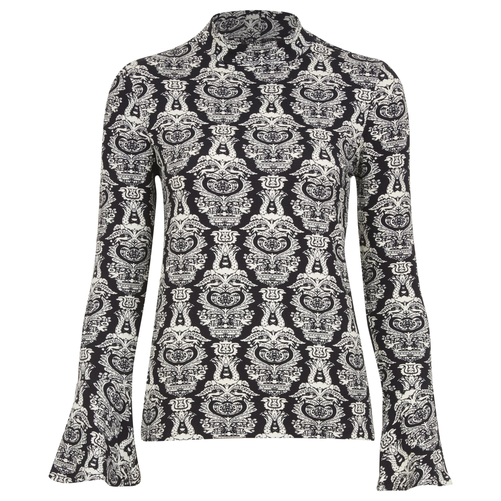 Bell Sleeve Heraldic Print Roll Neck Top - sleeve style: bell sleeve; neckline: high neck; style: standard; predominant colour: light grey; secondary colour: black; occasions: casual; length: standard; fibres: viscose/rayon - stretch; fit: slim fit; sleeve length: long sleeve; pattern type: knitted - fine stitch; pattern: patterned/print; texture group: jersey - stretchy/drapey; multicoloured: multicoloured; season: a/w 2016; wardrobe: highlight