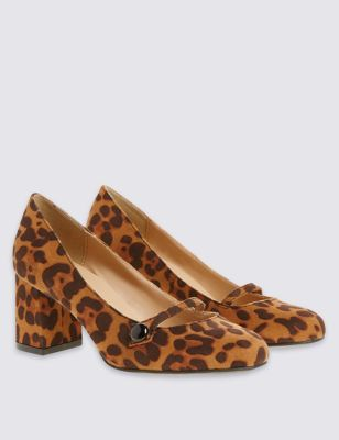 Wide Fit Block Heel Button Court Shoes - secondary colour: chocolate brown; predominant colour: tan; occasions: evening, work, creative work; material: faux leather; heel height: mid; heel: block; toe: round toe; style: courts; finish: plain; pattern: animal print; brand specific: wide fit; season: s/s 2016; wardrobe: highlight; trends: romantic explorer