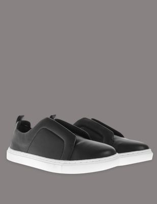 Slip On Elastic Trainers With Insolia Flex - predominant colour: black; occasions: casual; material: leather; heel height: flat; toe: round toe; style: trainers; finish: plain; pattern: plain; season: a/w 2016
