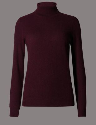 Pure Cashmere Polo Neck Jumper - pattern: plain; neckline: roll neck; style: standard; predominant colour: purple; occasions: casual, creative work; length: standard; fit: standard fit; fibres: cashmere - 100%; sleeve length: long sleeve; sleeve style: standard; texture group: knits/crochet; pattern type: knitted - fine stitch; pattern size: standard; season: a/w 2015; wardrobe: highlight