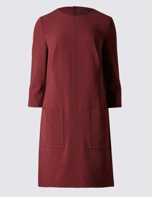 Patch Pocket 3/4 Sleeve Shift Dress - style: shift; length: mid thigh; neckline: round neck; pattern: plain; predominant colour: burgundy; occasions: casual, work, creative work; fit: straight cut; fibres: polyester/polyamide - stretch; sleeve length: 3/4 length; sleeve style: standard; pattern type: fabric; texture group: woven light midweight; season: a/w 2016; wardrobe: highlight