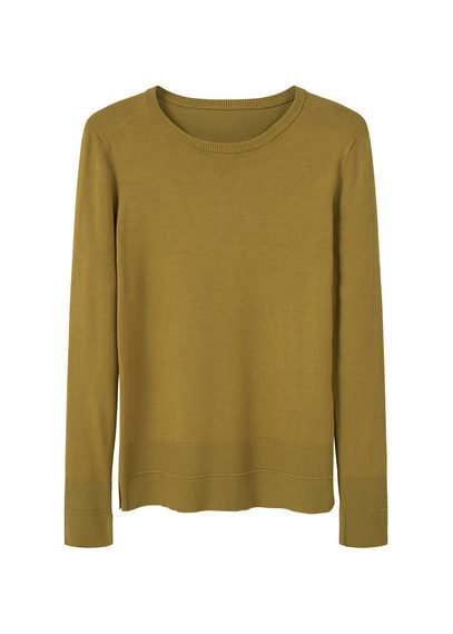 Fine Knit Sweater - neckline: round neck; pattern: plain; style: standard; predominant colour: khaki; occasions: casual; length: standard; fibres: viscose/rayon - stretch; fit: slim fit; sleeve length: long sleeve; sleeve style: standard; pattern type: fabric; texture group: jersey - stretchy/drapey; season: a/w 2016; wardrobe: highlight