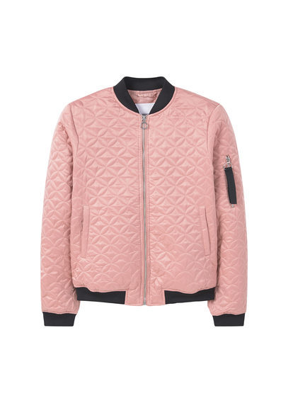 Contrast Trims Bomber - pattern: plain; collar: round collar/collarless; fit: slim fit; style: bomber; predominant colour: pink; secondary colour: black; occasions: casual; length: standard; fibres: polyester/polyamide - 100%; sleeve length: long sleeve; sleeve style: standard; collar break: high; pattern type: fabric; texture group: other - light to midweight; embellishment: quilted; multicoloured: multicoloured; season: a/w 2016; wardrobe: highlight