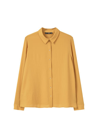 Buttoned Flowy Shirt - neckline: shirt collar/peter pan/zip with opening; pattern: plain; style: shirt; predominant colour: mustard; occasions: casual, creative work; length: standard; fibres: polyester/polyamide - 100%; fit: body skimming; sleeve length: long sleeve; sleeve style: standard; pattern type: fabric; texture group: other - light to midweight; season: a/w 2016; wardrobe: highlight