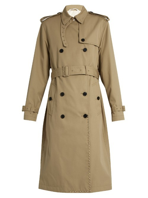 Rockstud Untiltled #1 Trench Coat - pattern: plain; style: trench coat; length: on the knee; fit: slim fit; predominant colour: camel; occasions: casual; fibres: polyester/polyamide - mix; collar: shirt collar/peter pan/zip with opening; waist detail: belted waist/tie at waist/drawstring; sleeve length: long sleeve; sleeve style: standard; collar break: high; pattern type: fabric; texture group: woven light midweight; wardrobe: basic; season: a/w 2016