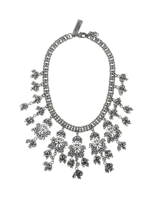 Bardies Necklace - predominant colour: silver; occasions: evening, occasion; length: mid; size: large/oversized; material: chain/metal; finish: metallic; embellishment: crystals/glass; secondary colour: clear; style: bib/statement; season: a/w 2016; wardrobe: event