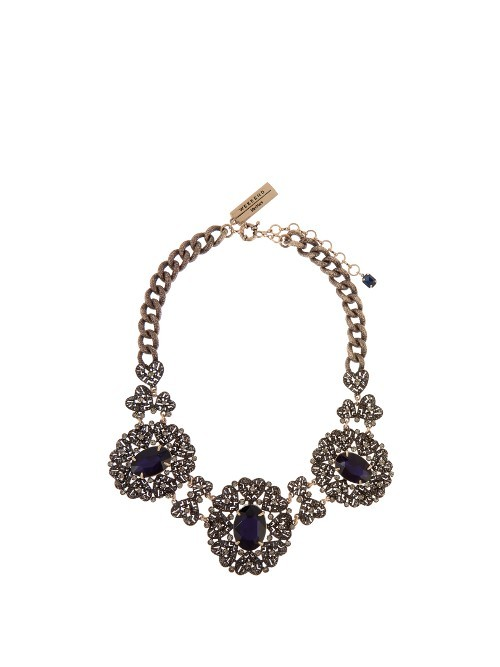 Domino Necklace - secondary colour: navy; predominant colour: gold; occasions: evening, occasion; style: choker/collar/torque; length: short; size: large/oversized; material: chain/metal; finish: metallic; embellishment: jewels/stone; season: a/w 2016; wardrobe: event