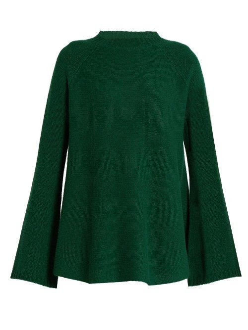 Pegli Sweater - pattern: plain; neckline: high neck; style: standard; predominant colour: dark green; occasions: casual; length: standard; fit: standard fit; fibres: cashmere - 100%; sleeve length: long sleeve; sleeve style: standard; texture group: knits/crochet; pattern type: fabric; season: a/w 2016; wardrobe: highlight