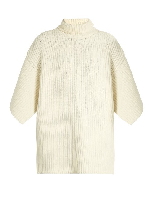 Nambo Sweater - pattern: plain; neckline: roll neck; style: standard; predominant colour: ivory/cream; occasions: casual; length: standard; fibres: wool - mix; fit: loose; sleeve length: 3/4 length; sleeve style: standard; texture group: knits/crochet; pattern type: knitted - other; wardrobe: basic; season: a/w 2016