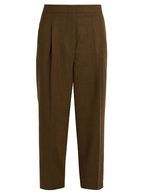 Calco Trousers - pattern: plain; style: peg leg; waist: high rise; predominant colour: khaki; occasions: casual, creative work; length: ankle length; fibres: wool - mix; hip detail: front pleats at hip level; waist detail: narrow waistband; fit: tapered; pattern type: fabric; texture group: woven light midweight; season: a/w 2016