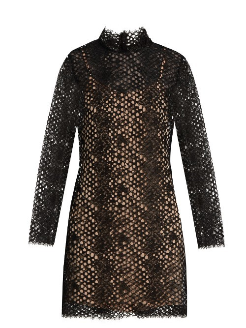 Long Sleeved Lace Mini Dress - style: shift; length: mini; neckline: high neck; predominant colour: black; occasions: evening; fit: body skimming; fibres: cotton - mix; sleeve length: long sleeve; sleeve style: standard; texture group: lace; pattern type: fabric; pattern size: standard; pattern: patterned/print; season: a/w 2016; wardrobe: event