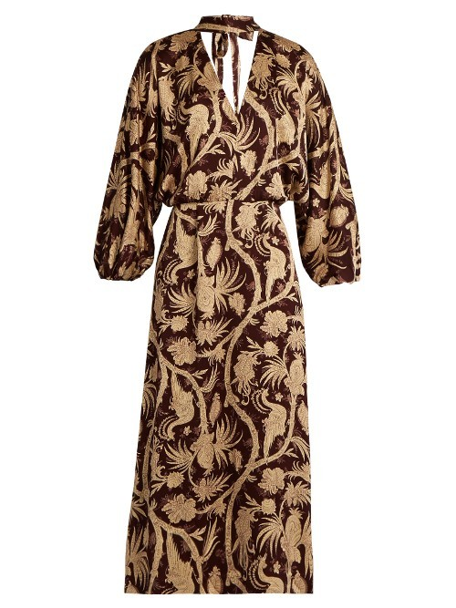 Karmic Bird Chintz Print Midi Dress - style: shift; length: calf length; neckline: v-neck; predominant colour: chocolate brown; secondary colour: stone; occasions: evening; fit: body skimming; fibres: viscose/rayon - 100%; hip detail: adds bulk at the hips; sleeve length: long sleeve; sleeve style: standard; pattern type: fabric; pattern size: big & busy; pattern: florals; texture group: other - light to midweight; multicoloured: multicoloured; season: a/w 2016; wardrobe: event