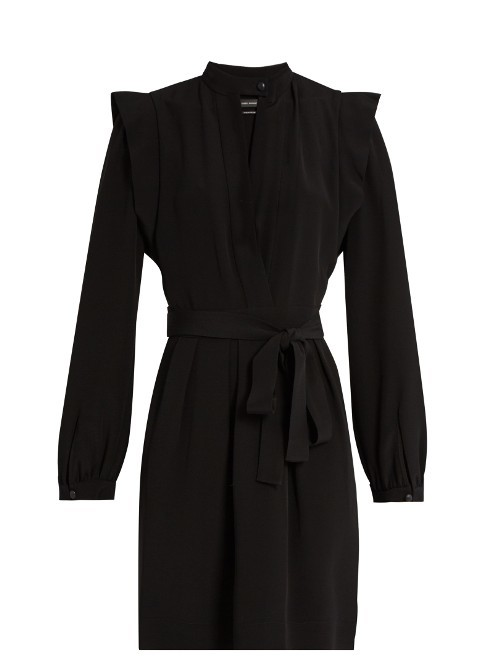Brad Crepe Dress - style: shift; length: mid thigh; pattern: plain; waist detail: belted waist/tie at waist/drawstring; predominant colour: black; occasions: evening; fit: body skimming; neckline: collarstand & mandarin with v-neck; sleeve length: long sleeve; sleeve style: standard; texture group: crepes; pattern type: fabric; fibres: viscose/rayon - mix; season: a/w 2016; wardrobe: event