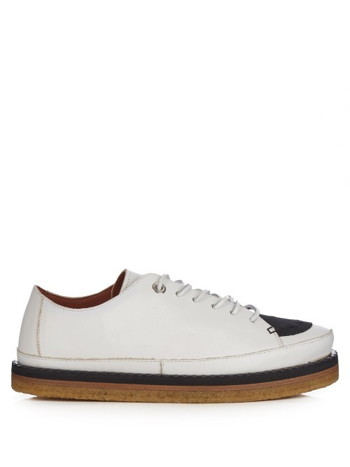 Gessati Trainers - predominant colour: white; secondary colour: navy; occasions: casual; material: leather; heel height: flat; toe: round toe; style: trainers; finish: plain; pattern: colourblock; shoe detail: moulded soul; season: a/w 2016