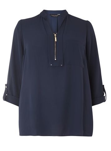 Womens Dp Curve Plus Size Navy Notch Neck Zip Shirt Navy - pattern: plain; style: blouse; predominant colour: navy; occasions: casual, creative work; length: standard; neckline: collarstand & mandarin with v-neck; fibres: polyester/polyamide - 100%; fit: straight cut; sleeve length: 3/4 length; sleeve style: standard; texture group: crepes; pattern type: fabric; wardrobe: basic; season: a/w 2016; embellishment location: bust