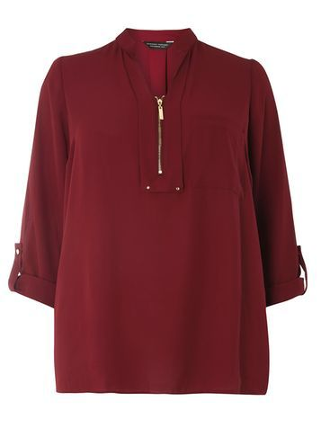 Womens Dp Curve Plus Size Berry Notch Neck Zip Shirt Red - pattern: plain; style: shirt; predominant colour: burgundy; occasions: casual, creative work; length: standard; neckline: collarstand & mandarin with v-neck; fibres: polyester/polyamide - 100%; fit: straight cut; sleeve length: 3/4 length; sleeve style: standard; texture group: crepes; pattern type: fabric; season: a/w 2016; wardrobe: highlight; embellishment location: bust