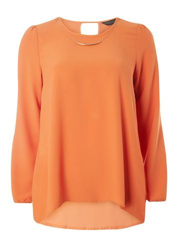 Womens Orange Necklace Blouse Orange - pattern: plain; style: blouse; predominant colour: bright orange; occasions: casual; length: standard; fibres: polyester/polyamide - 100%; fit: body skimming; neckline: crew; sleeve length: long sleeve; sleeve style: standard; texture group: crepes; pattern type: fabric; season: a/w 2016; wardrobe: highlight