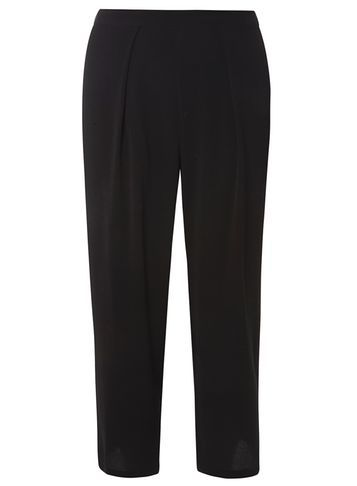 Womens Black Popcorn Culottes Black - pattern: plain; waist: mid/regular rise; predominant colour: black; occasions: casual; length: calf length; fibres: polyester/polyamide - stretch; fit: wide leg; pattern type: fabric; texture group: woven light midweight; style: standard; wardrobe: basic; season: a/w 2016