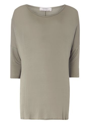 Womens **Maternity Khaki Longline Boxy Tee Khaki - neckline: round neck; pattern: plain; length: below the bottom; style: t-shirt; predominant colour: mid grey; occasions: casual; fibres: viscose/rayon - stretch; fit: body skimming; sleeve length: 3/4 length; sleeve style: standard; pattern type: fabric; texture group: jersey - stretchy/drapey; wardrobe: basic; season: a/w 2016