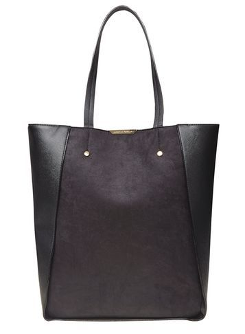 Womens Black Insert Shopper Tote Bag Black - predominant colour: black; occasions: casual, creative work; type of pattern: standard; style: tote; length: shoulder (tucks under arm); size: oversized; material: faux leather; pattern: plain; finish: plain; wardrobe: investment; season: a/w 2016
