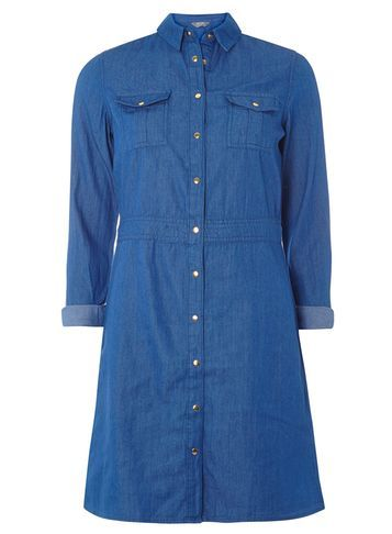 Womens Bright Blue Denim Shirt Dress Blue - style: shirt; neckline: shirt collar/peter pan/zip with opening; pattern: plain; predominant colour: denim; occasions: casual; length: just above the knee; fit: body skimming; fibres: cotton - 100%; sleeve length: long sleeve; sleeve style: standard; texture group: denim; pattern type: fabric; wardrobe: basic; season: a/w 2016