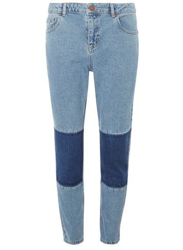 Womens Patchwork Straight Leg Jeans Blue - style: straight leg; length: standard; pattern: plain; pocket detail: traditional 5 pocket; waist: mid/regular rise; secondary colour: navy; predominant colour: denim; occasions: casual; fibres: cotton - stretch; texture group: denim; pattern type: fabric; wardrobe: basic; season: a/w 2016